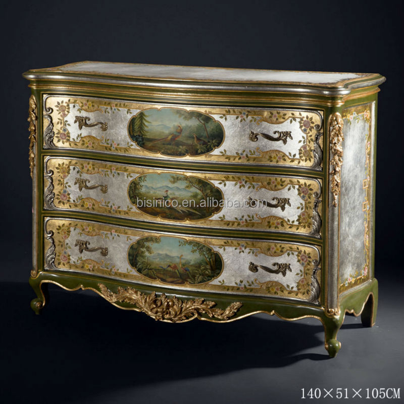 Vintage Golden Furniture, Elegant Hand Painted Console Cabinet, Home Decorating Chest Of 3-Drawer