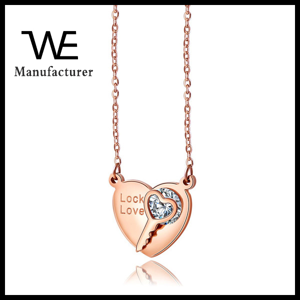 Manufacturers Selling 2016 New Korean Pop Female Stainless Steel Rose Gold Zircon Key My Heart Necklace For Girls