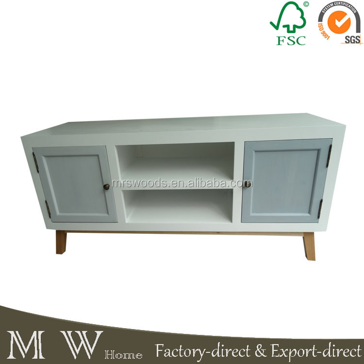 MW Home french antique white painted pine wood 2 doors 1 shelf KD leg mdf tv stand furniture, wood tv stand