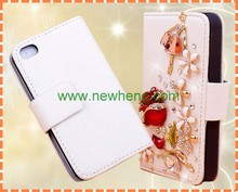 Bling butterfly Diamond PU Leather Card Wallet Cover Case for iPhone 5