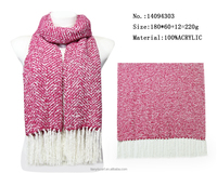 fashion young girl kniting scarf w tassel woven warm scarves