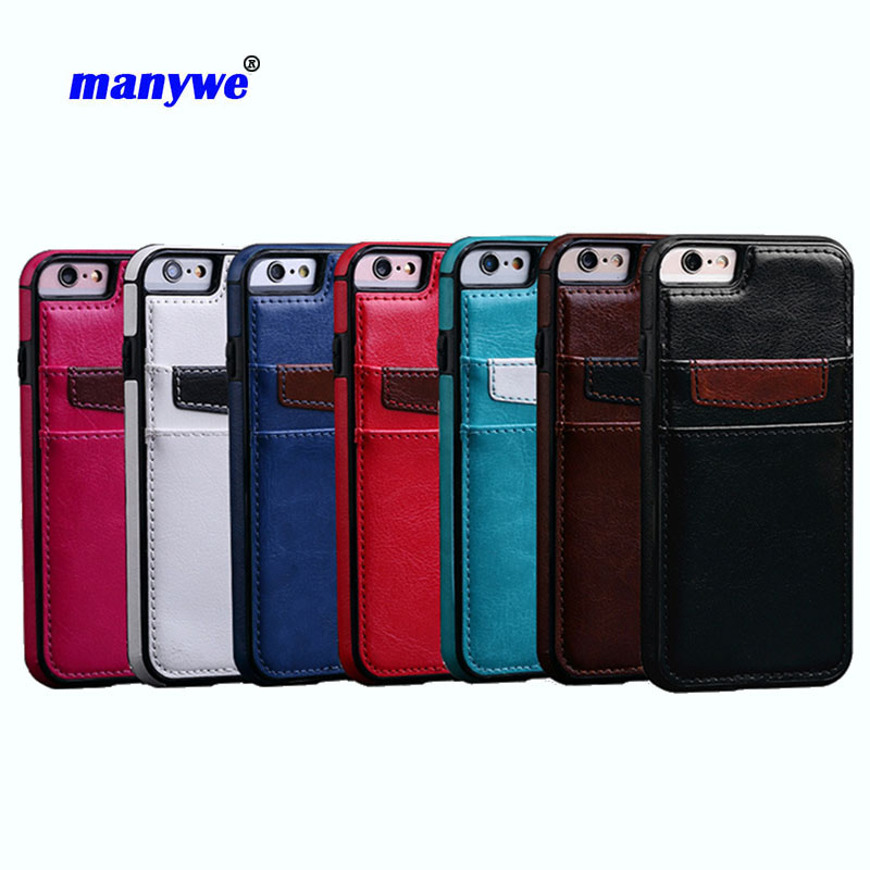New brand manywe pu leather phone case for iphone 7 ,7 plus with card slots