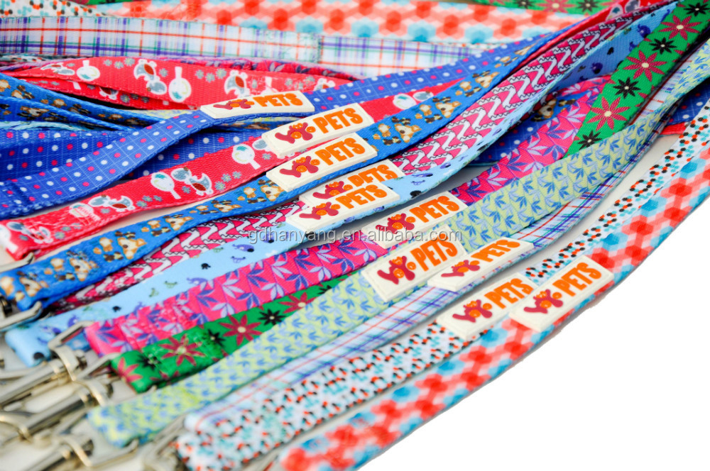 L176 wholesale pet dog leads, full color printing dog leash,custom print logo dog leash