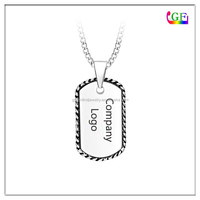 Square Necklace with Initials in Corner company logo