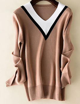 OEM Women's Casual/Daily Simple Large Size Slim Regular Pullover