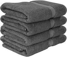 Fade Resistant Gray Terry Bathroom Cotton Towel