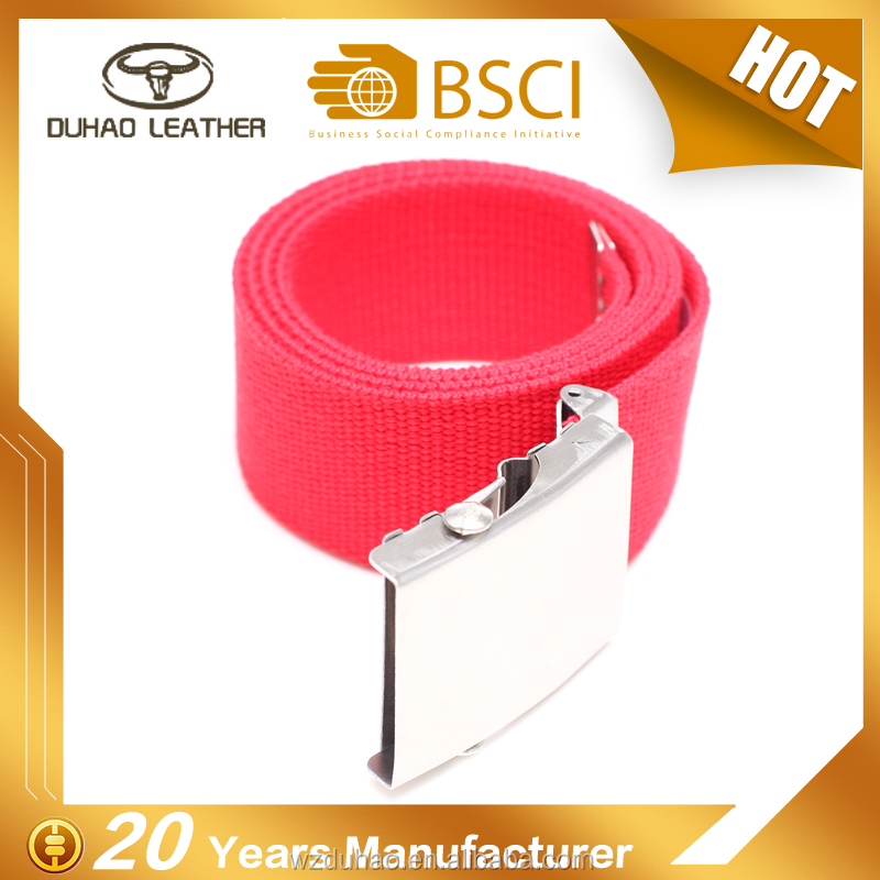 Best quality wholesale cotton red belt homemade male chastity canvas belt