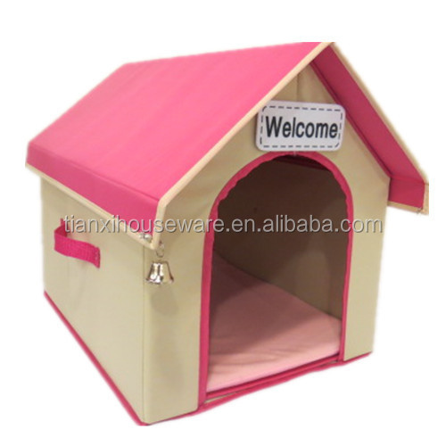 Pet Product Portable Foldable Fabric Dog House with Triangle Roof