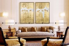 Gold foil oil painting art on canvas home decor wall painting guangzhou