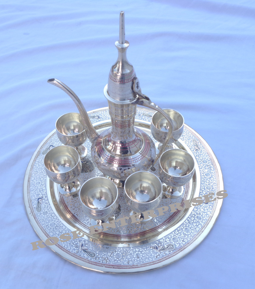 Brass Tequila (Wine) Set tray & Cups with a Pot (Brass Color)