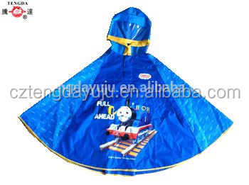 oem waterproof polyester rain poncho for boys and girls