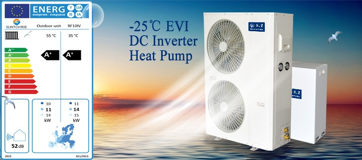 EN14825 Europe energy label 8kW 10kW SUNCHI dc inverter hot water heat pump air boiler for -25C winter heating room