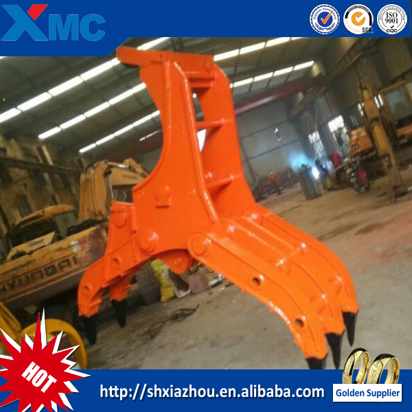 excavator hydraulic rotating grappler bucket for rugh handling