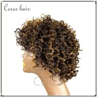 Beauty short afro kinky curly human hair wigs F4/27 mixed color boss hair wig for black women