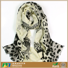 Soft warm large fine 100% pure merino wool shawl with black leopard print long cashmere pashmina lady scarf