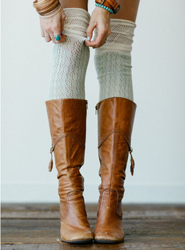 Hand Knitted Boot Cuffs Leg Warmers 2 colors stitching Boot Socks