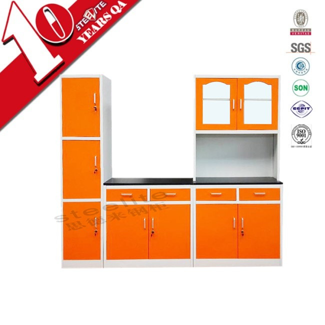 Household furniture prefab metal steel kitchen cabinet for Cheap kitchen carcass