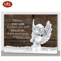 Angel Design Lighted Wooden Canvas Painting For Room Decoration