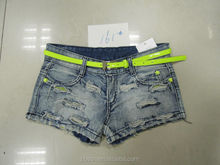 Hot sexy women Fluorescent colored skull fluorescent color denim shorts