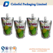 Custom printed high quality plastic foil spout pouch for fruit juice packaging China manufacturer