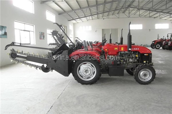 Tractor PTO driven high efficiency trencher with chain type