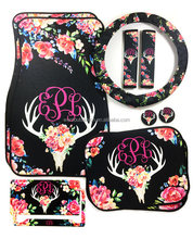 Wholesale Custom Personalized Cow Animal Skull Flowers Floral Deer Antler Monogrammed Seat Belt Covers
