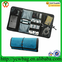 Heavy duty waterproof nylon roll up travel carry Electronics Organizer