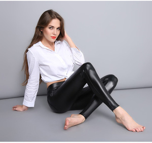 leather pants girls sexy slim fit leggings for women PU leather leggings