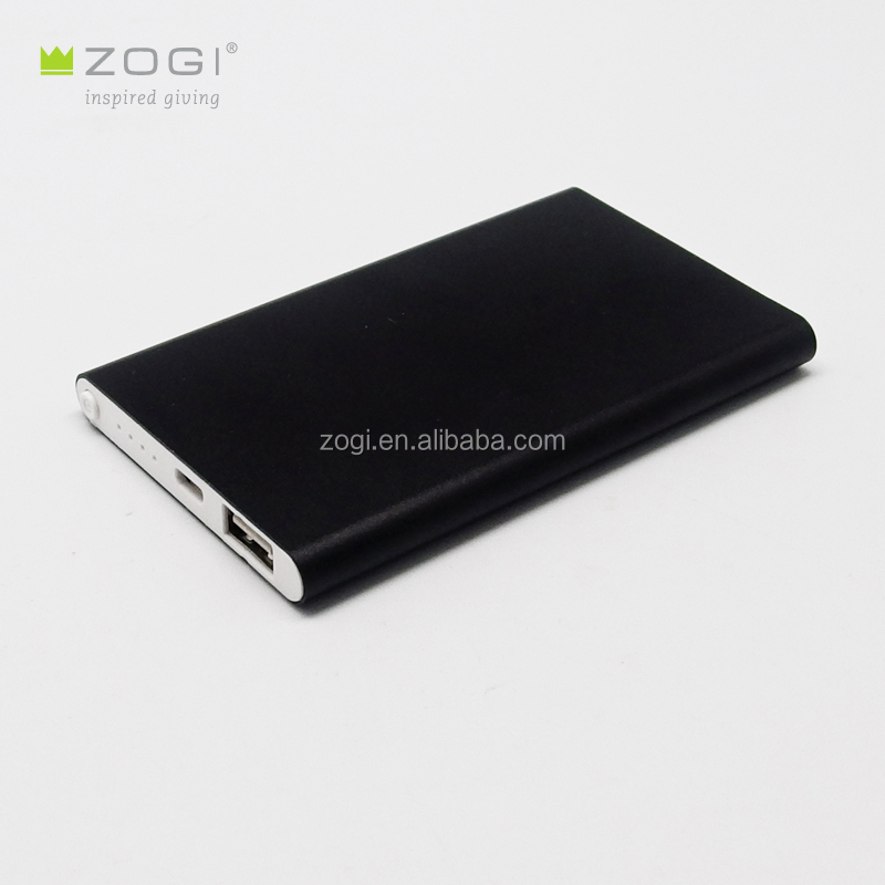 ultra slim portable power bank with metal case in black and silver color support laser logo