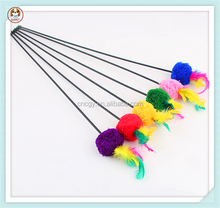 Wholesale cheap pet stick colorful cat feather toy