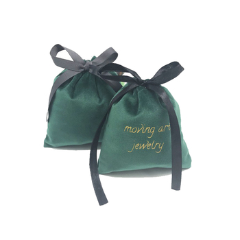 High Quality delicate environmental protect high grade gift bag double layer thickened velvet bag with ribbon rope