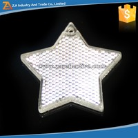 Metal Rring Hard plastic Stars Shape Cute Reflector Safety Reflective Keychain For Kids