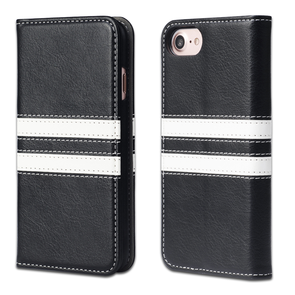 Black and White Patchwork PU Leather Book Case for iPhone 7