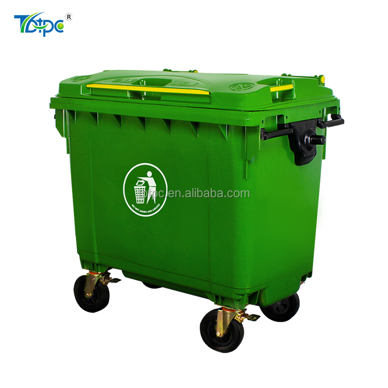 660L Big Size HDPE Outdoor Garbage Bin Recycle Standing Trash Container