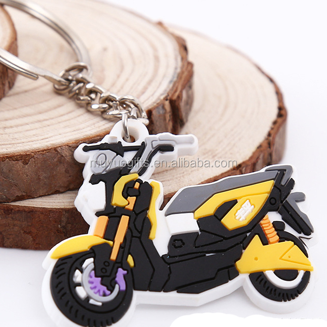 popular factory price round motorcycle customized logo soft PVC keychain
