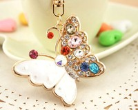 Shiny rhineston butterfly crystal keychain NSKY-2905