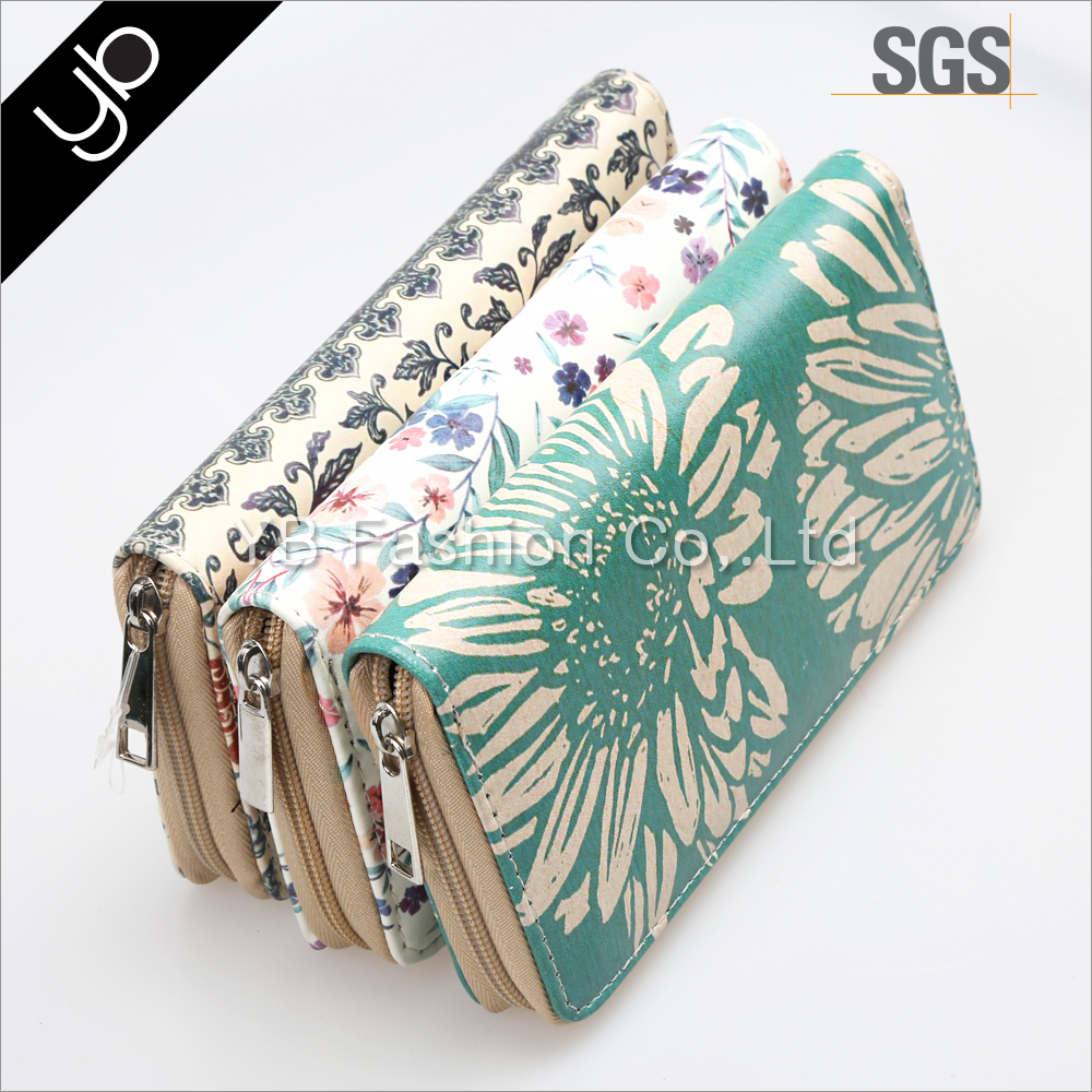 Fashion flower printed lady magic leather wallet