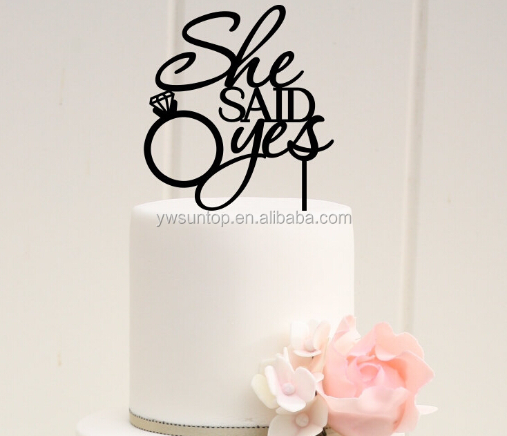 She Said Yes Bridal Shower Cake Topper Acrylic Cake Topper