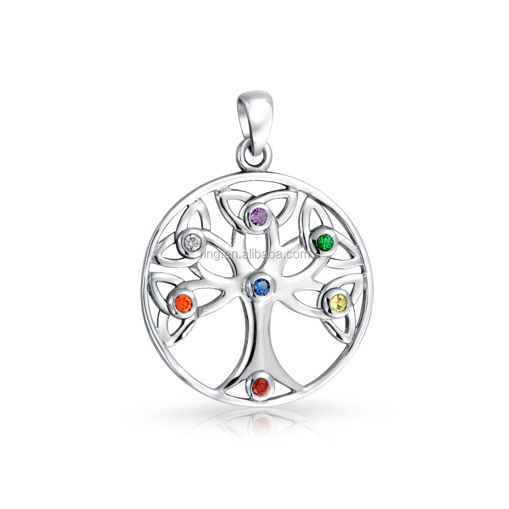My Family Tree Charms Silver Plated Birthstone Open Tree Of Life Pendant