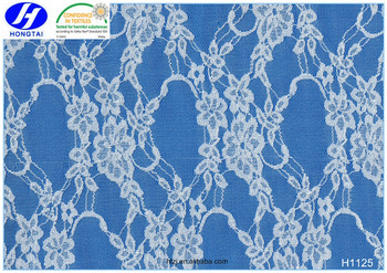 Hongtai 150cm length low price cotton and nylon lace fabric , flower knitted lace fabric for dress