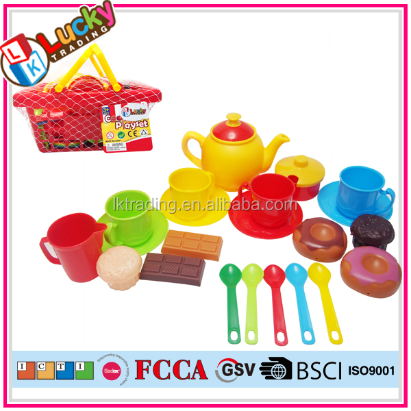 2016 Newest food game pretend plastic toy tea set with pastry for kids