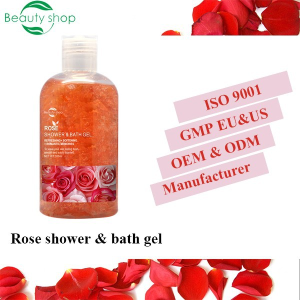 Rose liquid soap skin whitening bulk body wash bath and shower gel