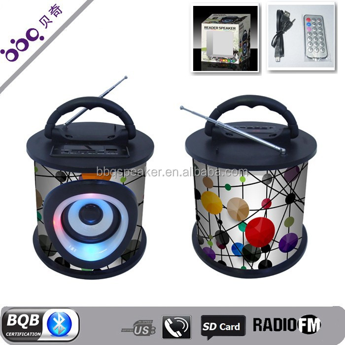 Round shape with led usb fm radio portable music cube portable speaker