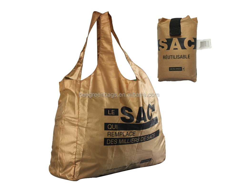 Reusable polyester folding bag folding shopping bag foldable with snap pouch