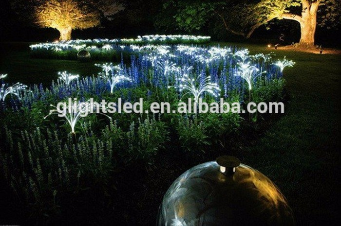 Outdoo rdecorative plastic fiber optic decoration side glow flower light