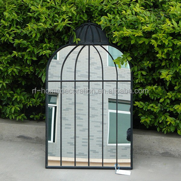 Garden decorative wrought iron wall windows mirror