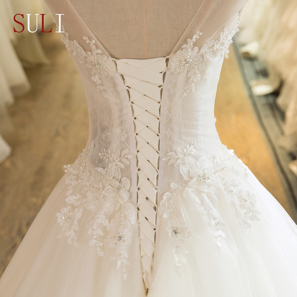 SL-101 New Custom Made Scoop Neck Tulle Beaded Lace Appliques 2016 Wedding Dress