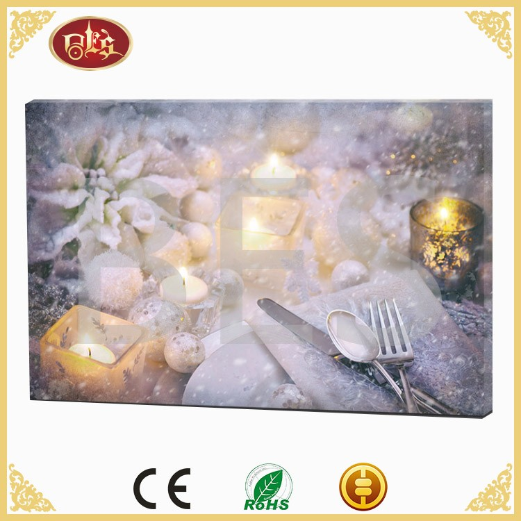 wall canvas painting picture with candle led light