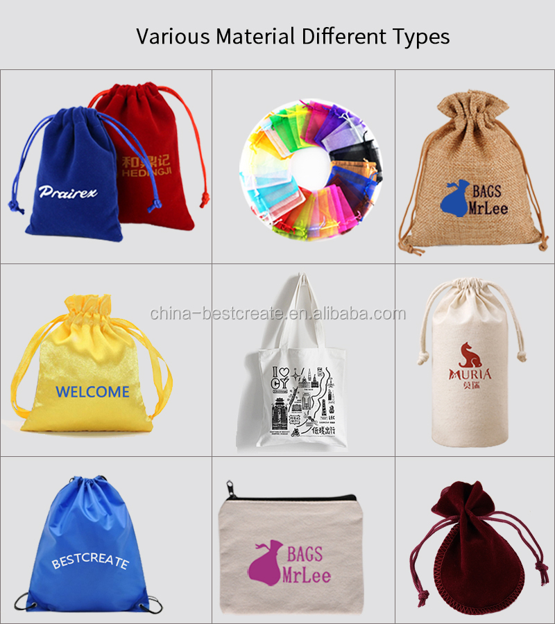 Custom printed promotional gift pouches drawstring cotton linen cosmetic bags