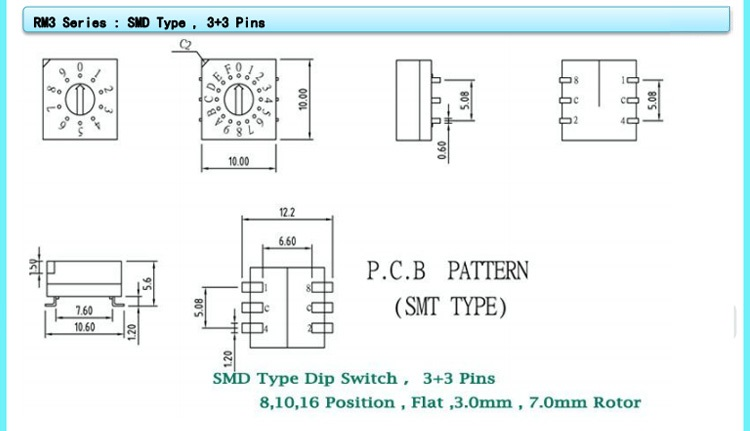 10X10mm SMT Type 3x3 Pins 10 Position Rotary Coded Dip Switch